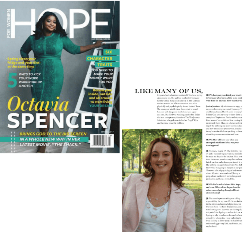 Jessica was featured in Hope Magazine