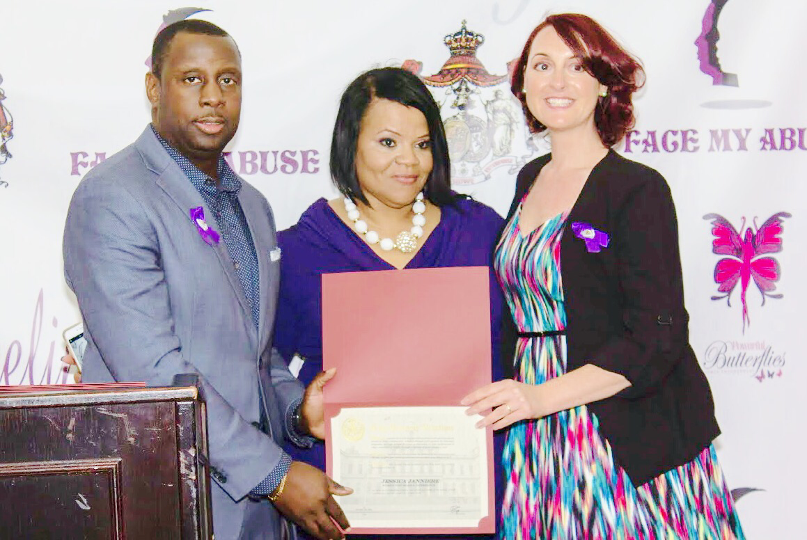Jessica receives an award from NY State Senator Jamaal T. Bailey